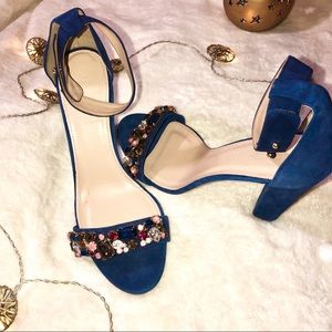 J. Crew Blue Suede High Heels w/ Gems